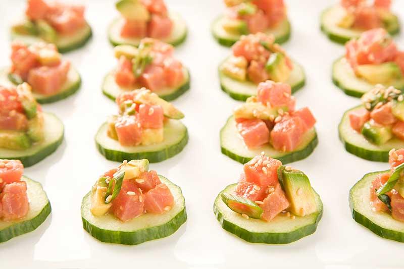 Tuna Tartare With Cucumber Salad And Avocado Recipe — Dishmaps