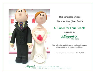 MaggieS Meals Gift Certificates New York City Catering  Daily